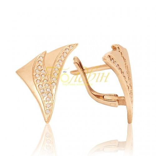 Золотые серьги с фианитами. СП253