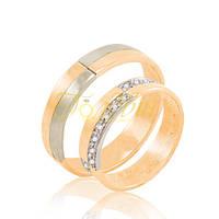 Золотое обручальное кольцо с фианитами - лаконичное. КП1003