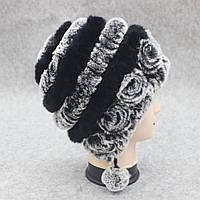 Молодежная шапка из меха серо-черная с помпонами