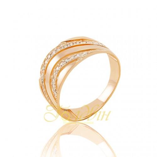 Золотое кольцо с фианитами. КП1650