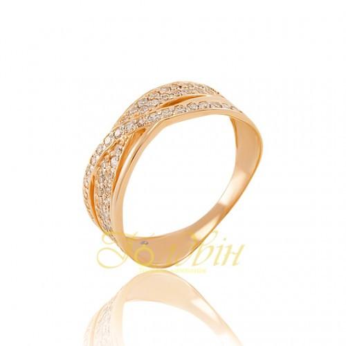 Золотое кольцо с фианитами. КП1652