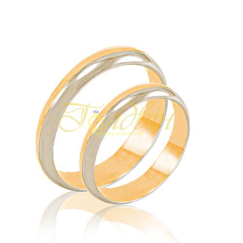 Обручальные кольца красного и белого золота. КП1008 - Ювелирный  интернет-магазин