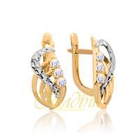 Золотые серьги с алмазной гранью. П20265А