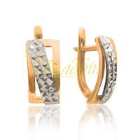 Золотые серьги с алмазной гранью. П20275А