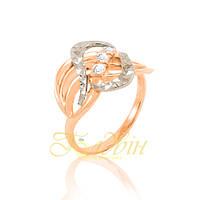 Золотое кольцо с алмазной гранью  с фианитами. П10265А