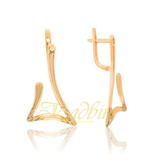 Золотые серьги с алмазной гранью. СП20199А
