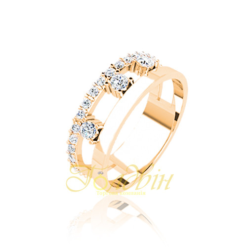 Золотое кольцо с фианитами. ГП10419