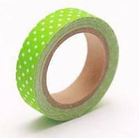 Тканевый скотч Свежая зелень в горошек 15мм х 4м