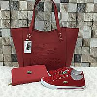 Комплект  LaCoste сумка+обувь красный