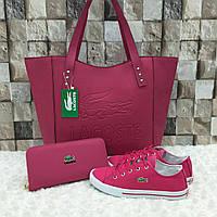 Комплект  LaCoste сумка+обувь цвет фуксия