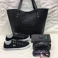 Комплект  LaCoste сумка+обувь черный