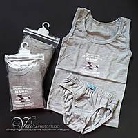Комплект для мальчика майка + трусики 405 серый. Размер L / 8-9 лет (есть замеры)