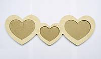 Фоторамка 3 сердца для фото 10х10, 40х14 см