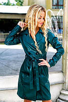 Женская зеленое пальто кож зам  42 44 46