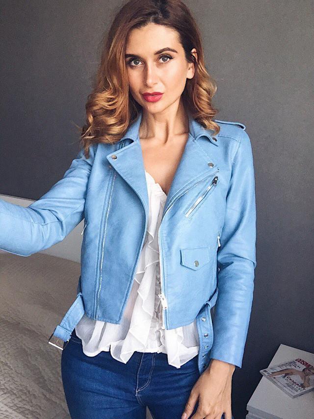 Куртка косуха кожа с ремнем (голубая)