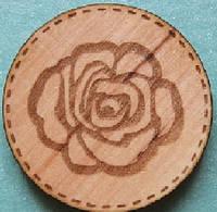 Деревянный чипборд Кружочек розочка, 28 мм
