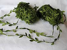 Лента с листочками оливкового цвета моток 20 м