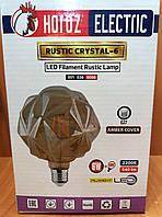Світлодіодна лампа Едісона Filament G125 6W HOROZ ELECTRIC КРИШТАЛЕВА-6, фото 1