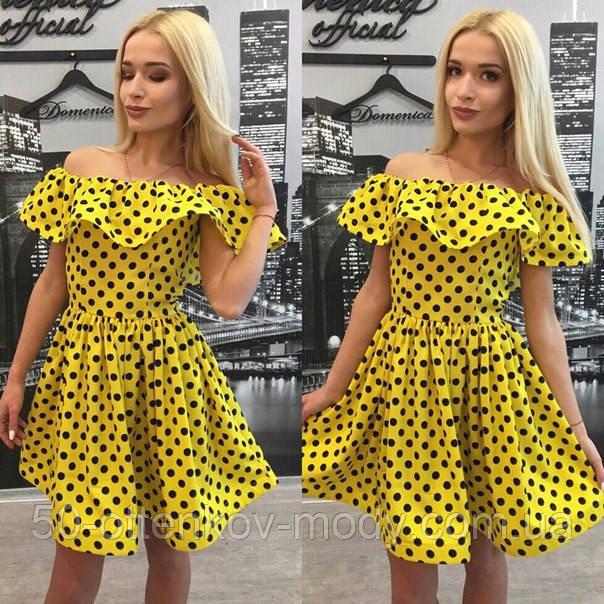 7425508e3926 Женское модное платье в горошек с воланом (+ большие размеры ...