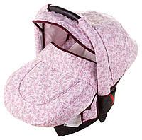 Автокресло Adamex Carlo белый - розовые цветочки (0-13 кг)