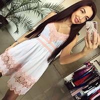 Женское стильное платье с кружевом (3 цвета)