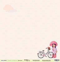 Бумага для скрапбукинга Хорошее настроение, Велосипед, 30х30 см