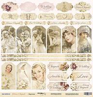 Бумага для скрапбукинга Наша Свадьба, Карточки, 30х30 см