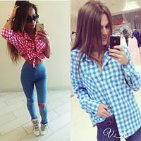 Женская стильная хлопковая рубашка в клетку (2 цвета)