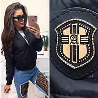 Куртка-плащевка на синтепоне 150 ,   Ema  черная !  ! , фото 1