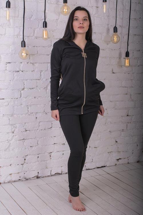 0a4f1d2dc49 Женский спортивный костюм на флисе черный - СТИЛЬНАЯ ДЕВУШКА интернет  магазин модной женской одежды в Киеве