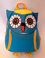 """Рюкзак игрушка детский мягкий""""Сова """" из неопрена для школы,детсада,в поездку синего цвета"""