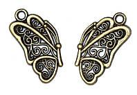 Металлическая подвеска Бабочка ажурная бронза, 22х12 мм