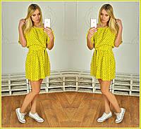 Женское красивое желтое платье в горошек