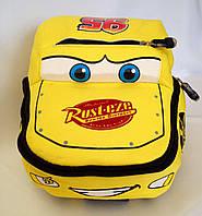 """Рюкзак игрушка детский мягкий""""Тачки Маквин """" из неопрена для школы,детсада,в поездку жёлтого цвета"""