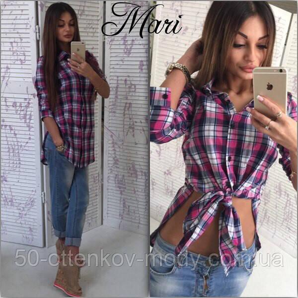 3c94f85a571 Женская стильная удлиненная рубашка в клетку (3 цвета)  продажа ...