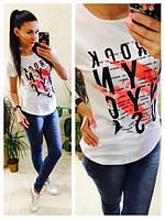 Женская модная футболка с принтами (5 цветов)