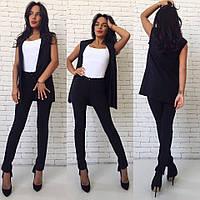 Женский стильный костюм: жилет и брюки (2 цвета) черный, С