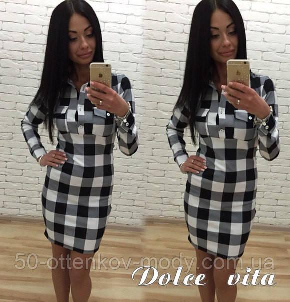 Женское стильное платье-рубашка в клетку   продажа d8fff9340e6f5