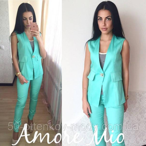 5989035f20e Женский стильный костюм-двойка  жилет и брюки (3 цвета) - Интернет магазин