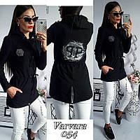 Стильная женская куртка парка Philipp Plein с капюшоном и карманами чёрная  42 2d5489f62bb03