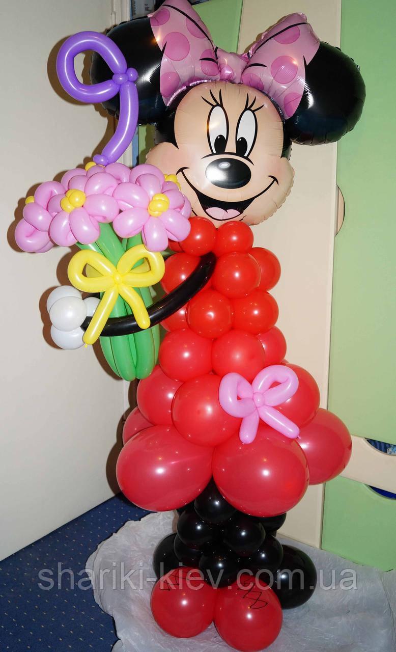 Фигура Минни (Микки) Маус из мультфильма с букетом и циферкой из шариков на День рождения