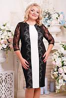 Женское батальное платье с кружевом ПЧЕЛА ТМ Lenida 52-62 размеры