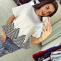 Женская шикарная белая блуза-кофта с полосатыми вставками