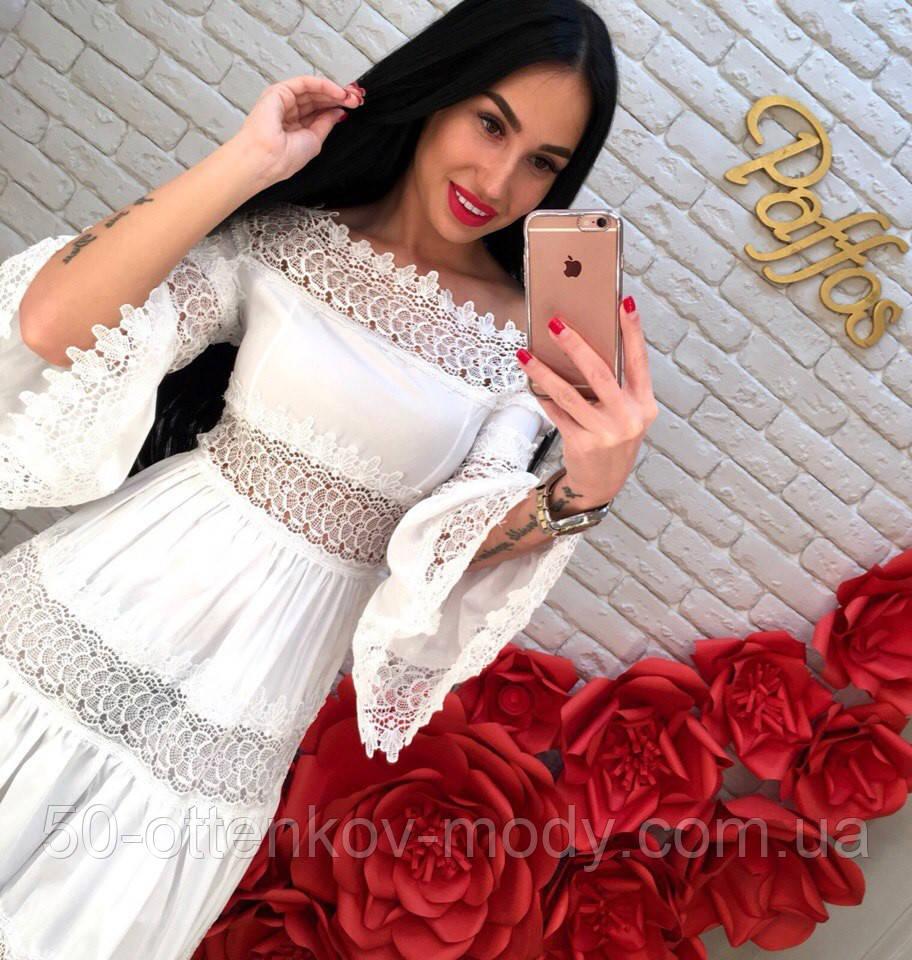 c306b674022 Женское красивое белое летнее платье с кружевом  продажа