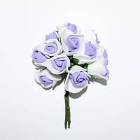 Розы из латекса белые с сиреневым, 2,5 см, 12 шт