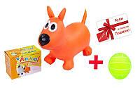 Попрыгун резиновый Собака A-BA-3004 + подарок (Мяч резиновый Волейбол BA-3007)