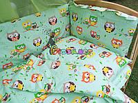 """Детское постельное бельё (8 предметов) """"Совушка"""" салатовое"""