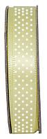 Лента из ткани дизайнерская с точками, Лимонная, 3м