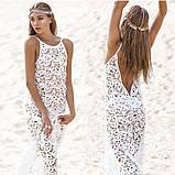 Женская белая пляжная туника из плотного кружева с открытой спиной, фото 2