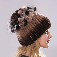 Меховая шапка с петлями цвет коричневый